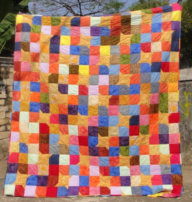 Yellow Star Scrappy Batik Quilt - Simply the Best Quilts