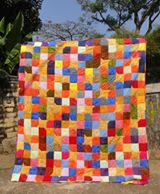 Yellow Star Scrappy Batik Quilt 3