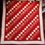 Maroon Nine Patch Quilt